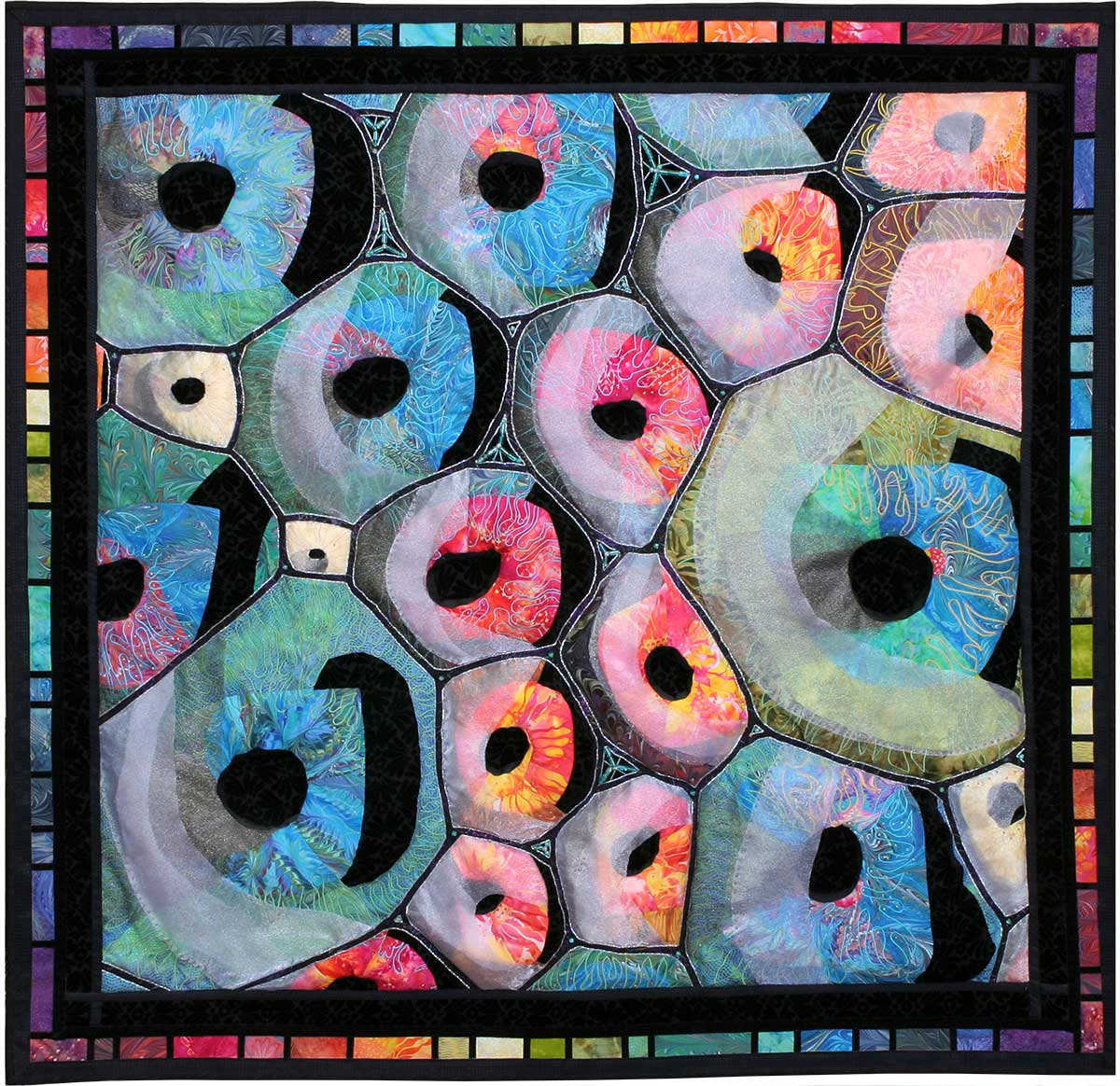 Art Quilt, Hawking's Bubbles, by Meri Vahl